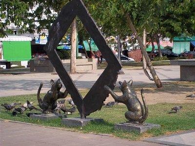 Suan Rak Park Statue of Cats