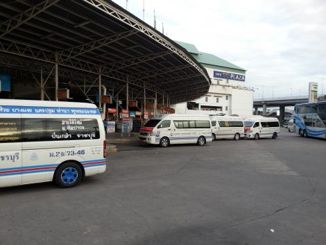 Minivans at the Southern Bus Terminal in Bangkok