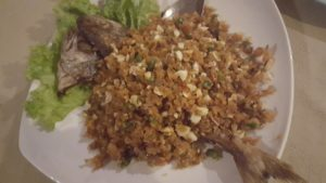 Deep fried kingfish at Prasarnsook Villa Beach Resort