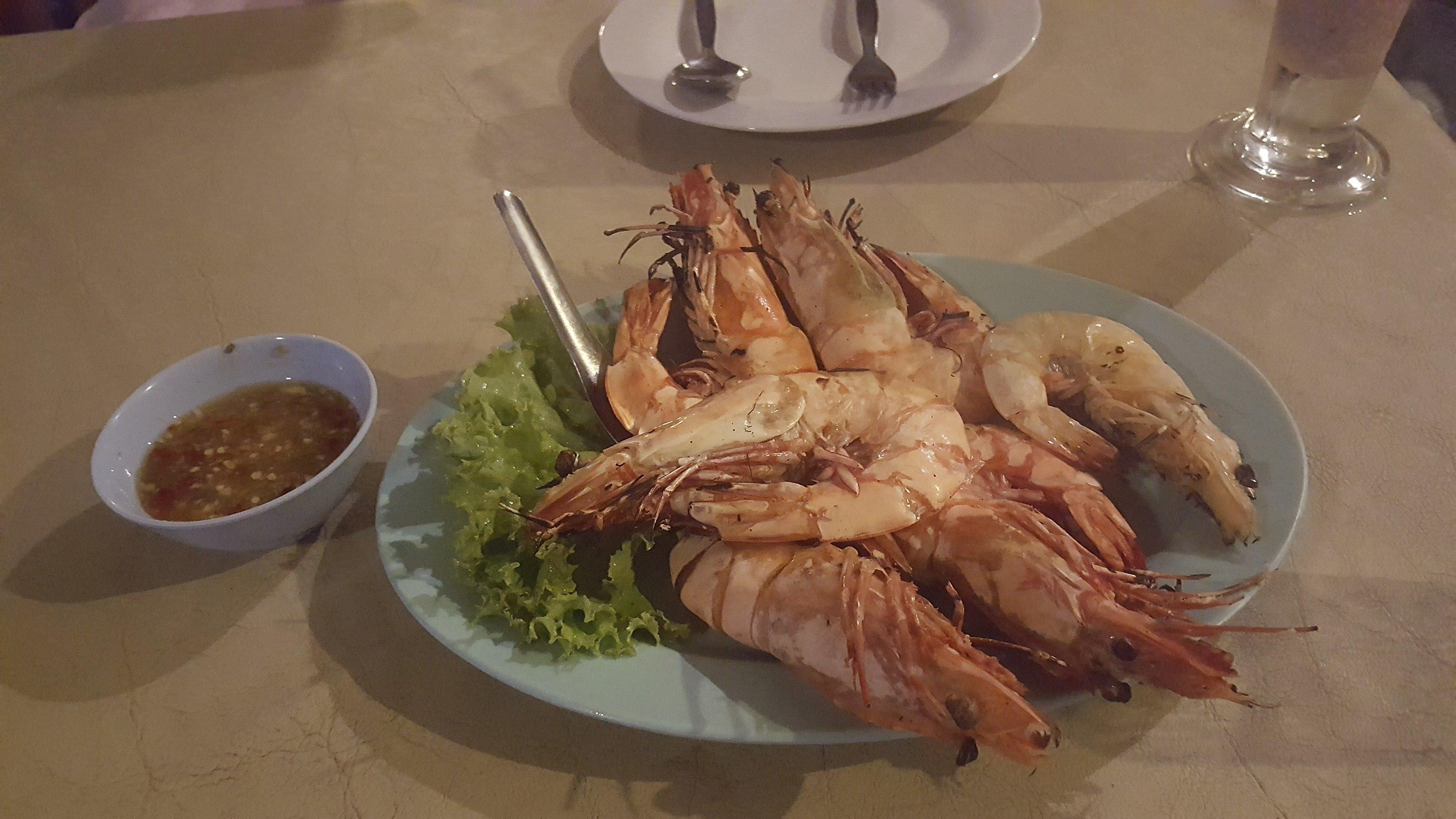 Grilled prawns at Prasarnsook Villa Beach Resort restaurant