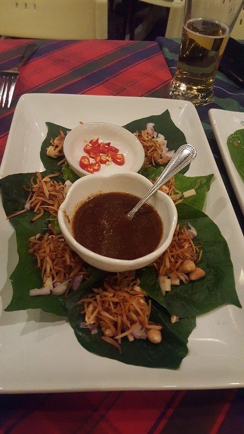 Traditional Thai Betel nut leaf wraps (Mien Khum)