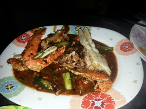 Crab in red curry at Duang Jai Seafood