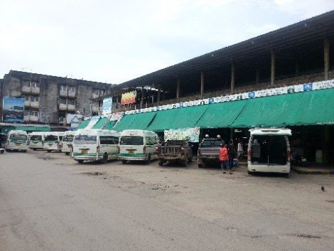 Minivans at Talad Kaset 2 bus station in Surat Thani