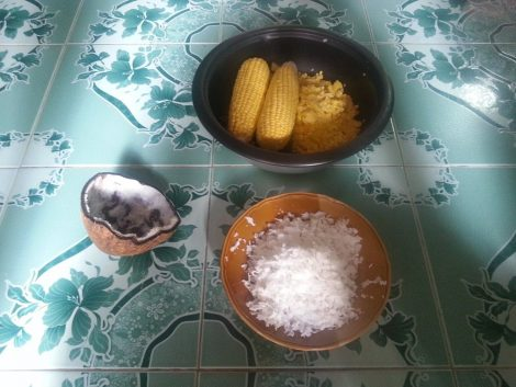 First prepare the coconut and sweetcorn