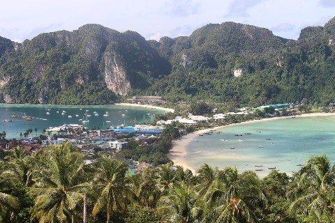 Ferries arrive at Ton Sai bay in Koh Phi Phi