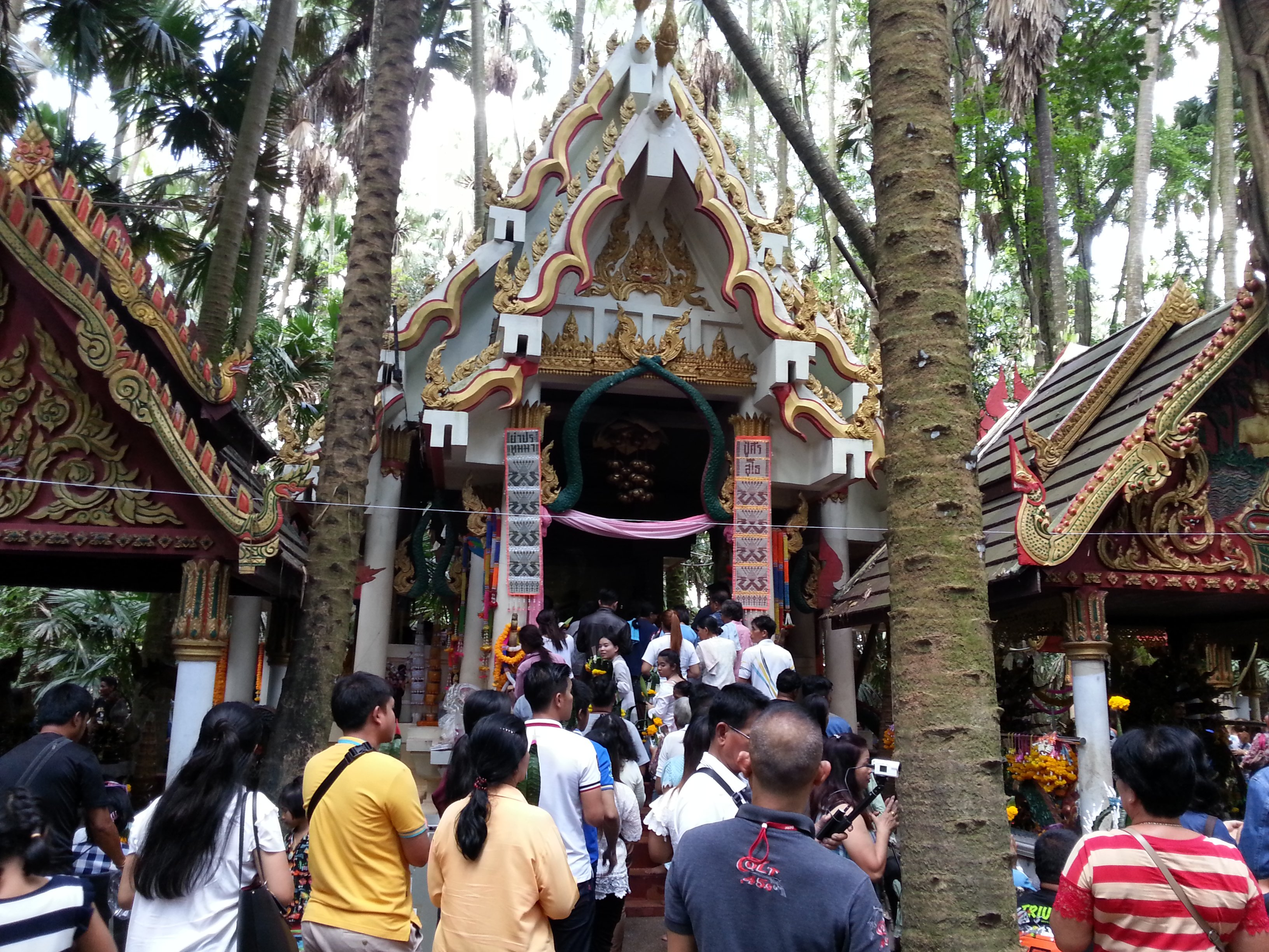 Three shrines in Wat Kham Chanot Forest