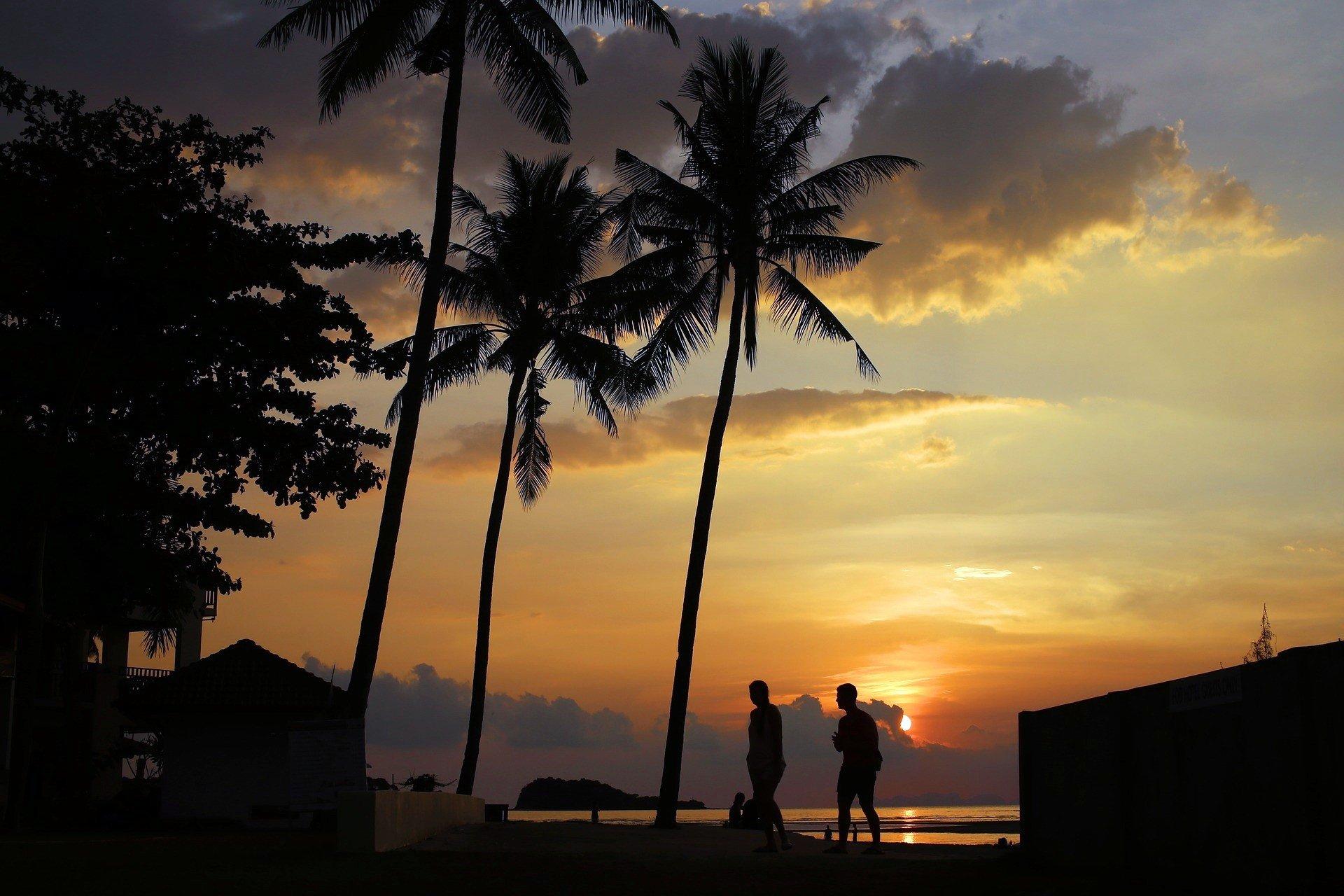 Sunset on the beach in Koh Lanta