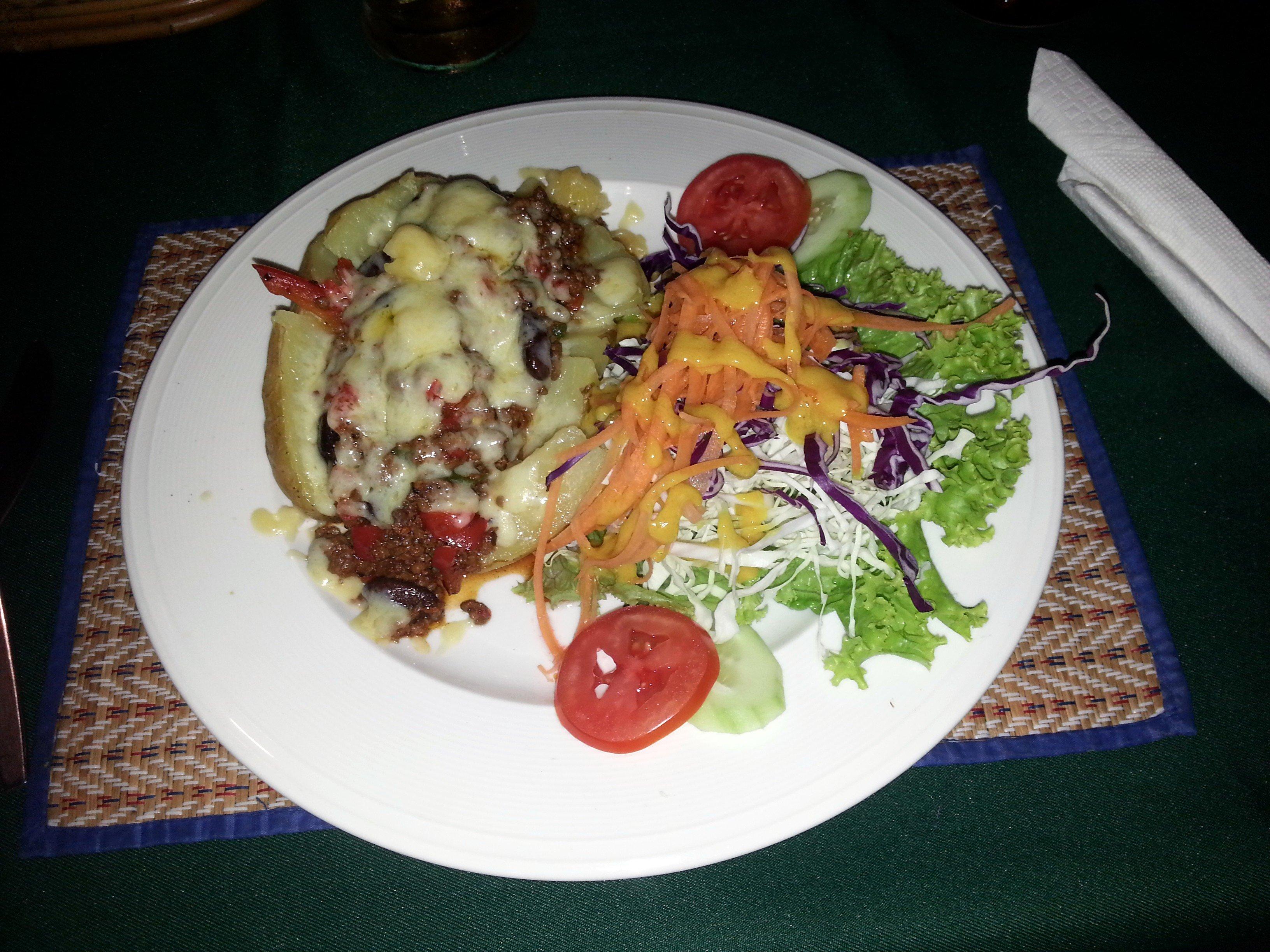Jacket potato with chilli at the Irish Clock