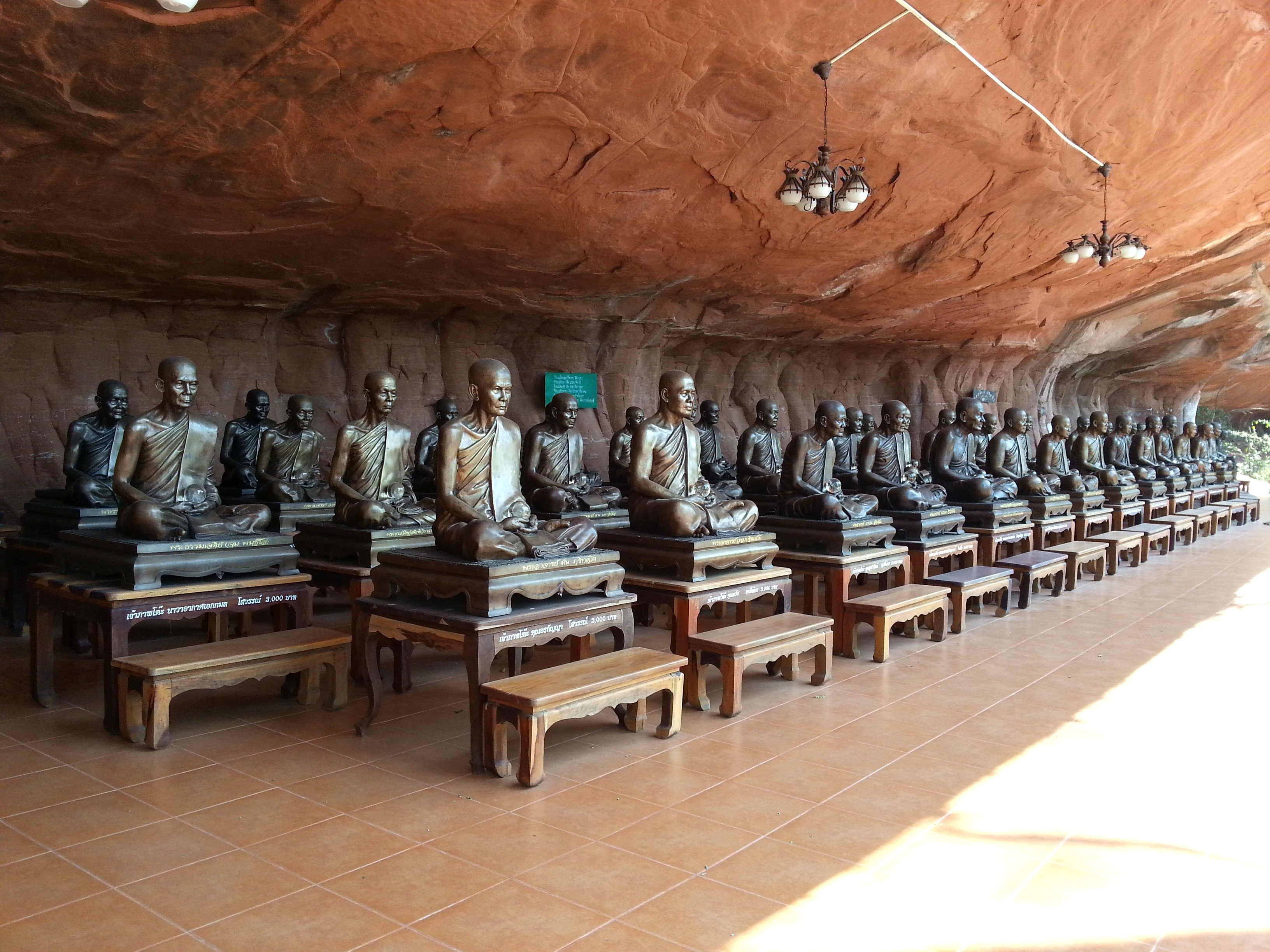 Monk statues at the shrine on Level 5
