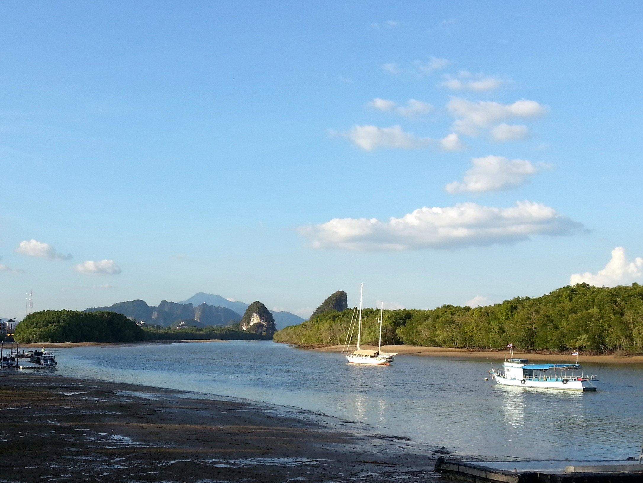 Beautiful view along the river front in Krabi Town