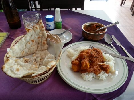 Chicken vindaloo and naan bread at the Bombay Palace