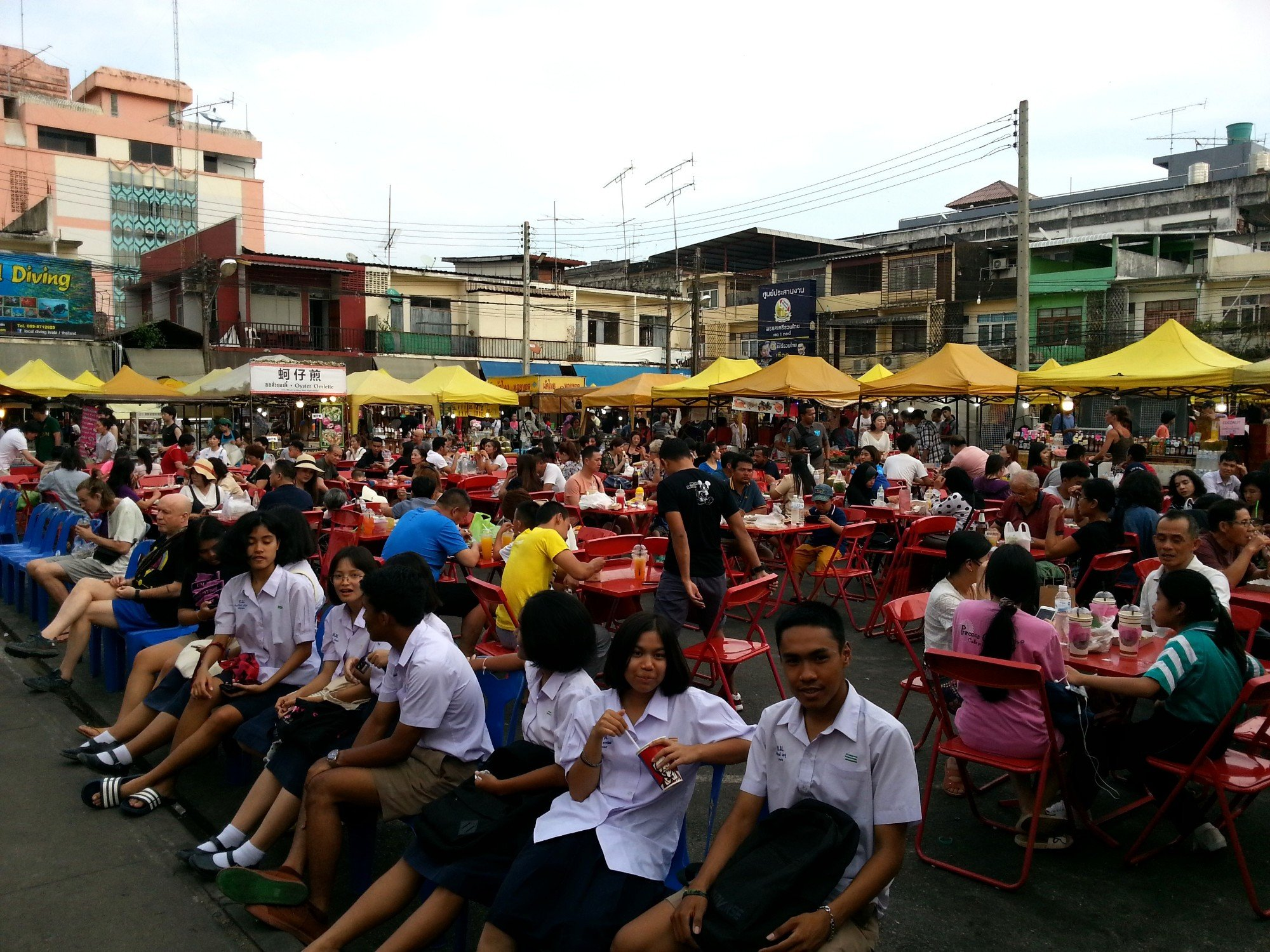 Seating area at Krabi Town Walking Street