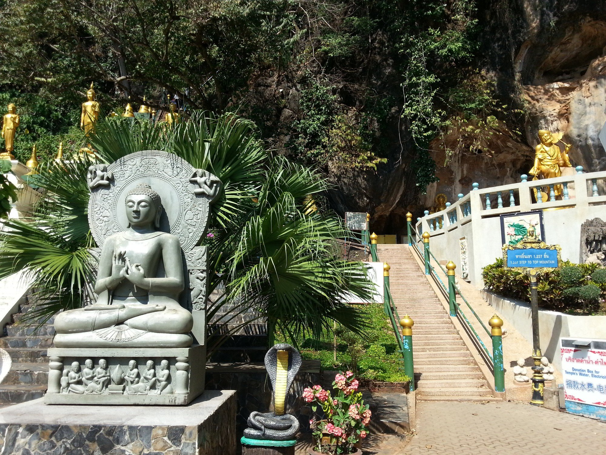 Start of the walk to the mountain top at Wat Tham Suea