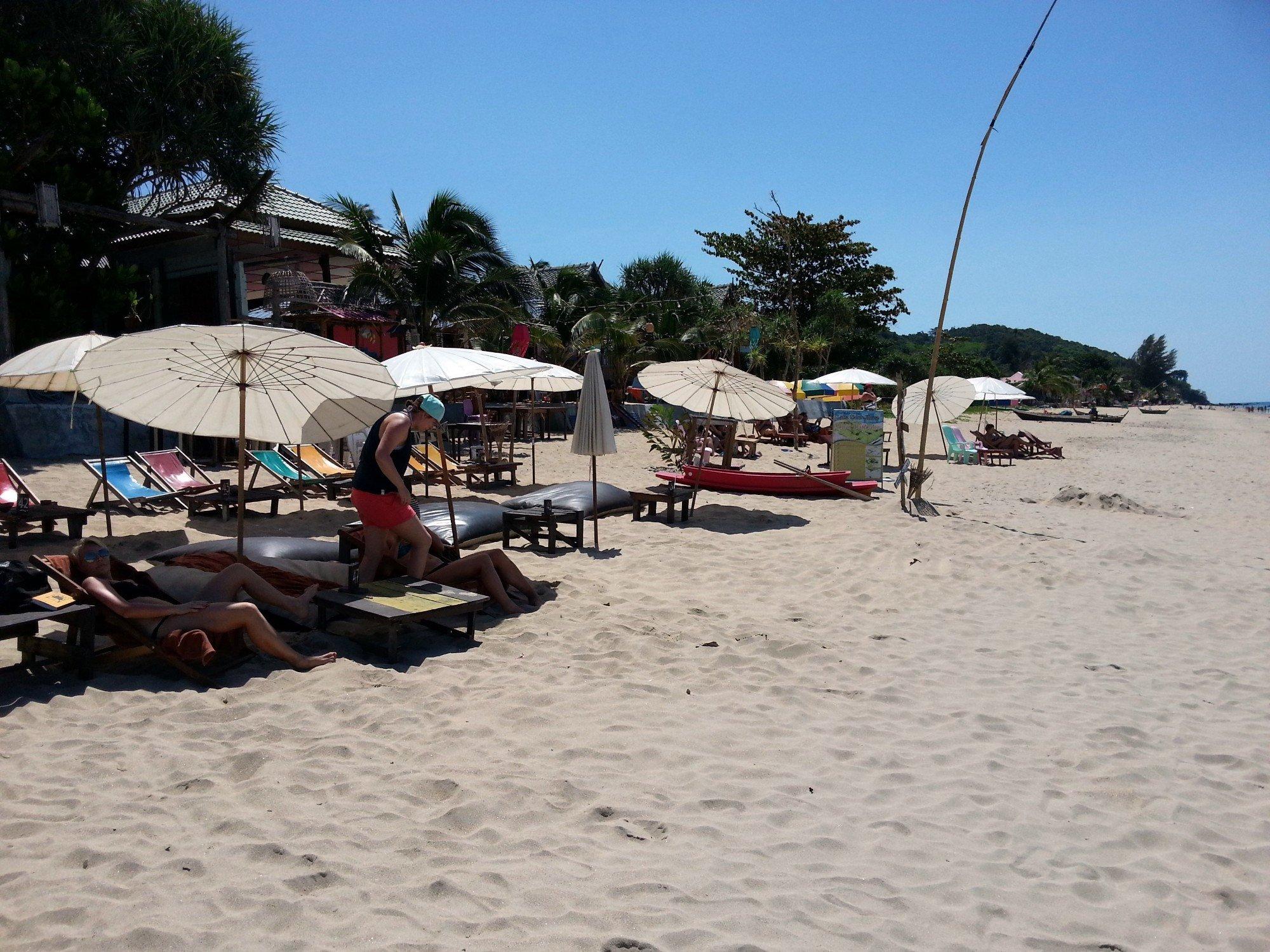 Sunloungers at the Horizon Bar on Klong Khong Beach