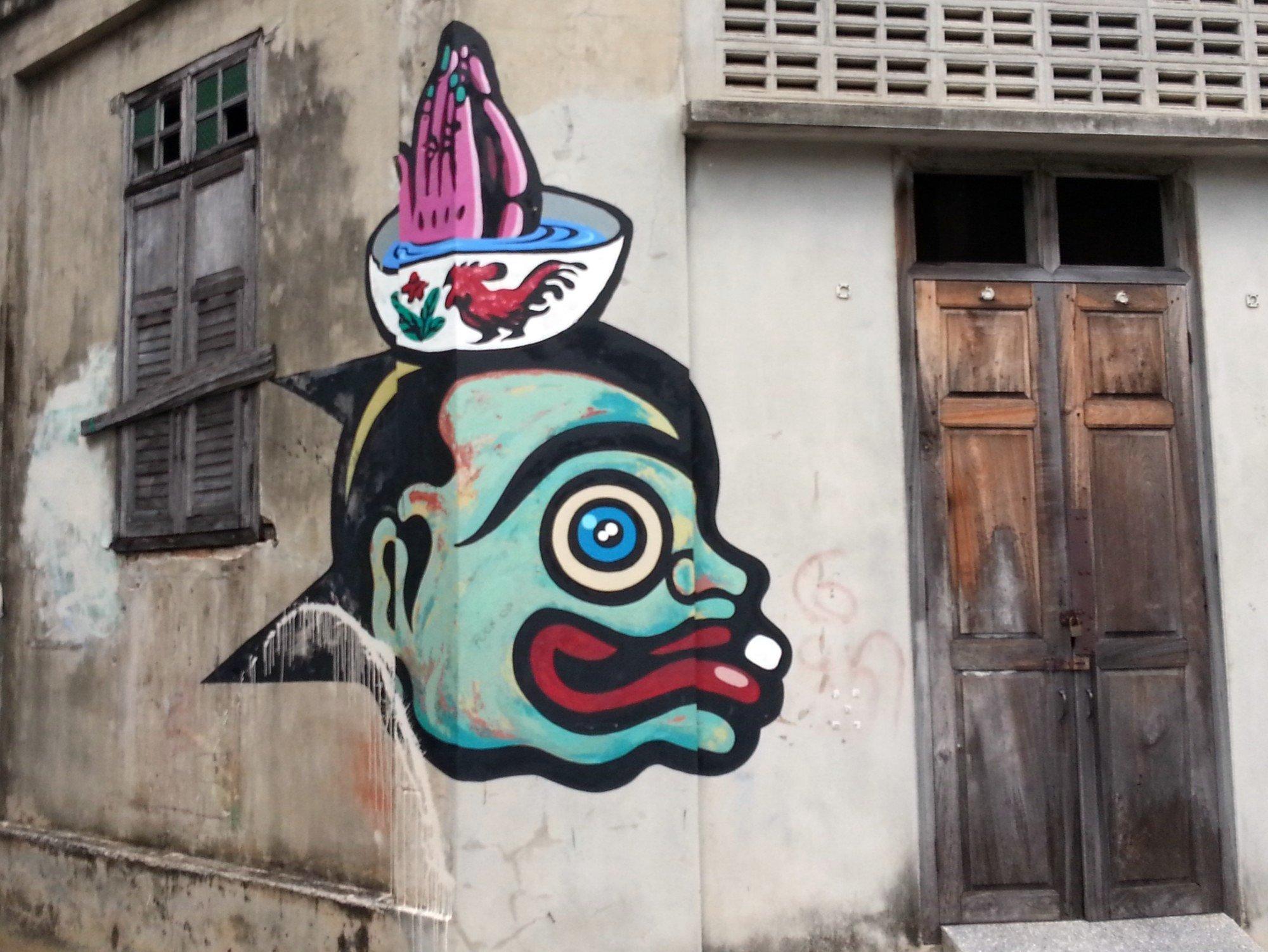 Monster wall mural in Songkhla