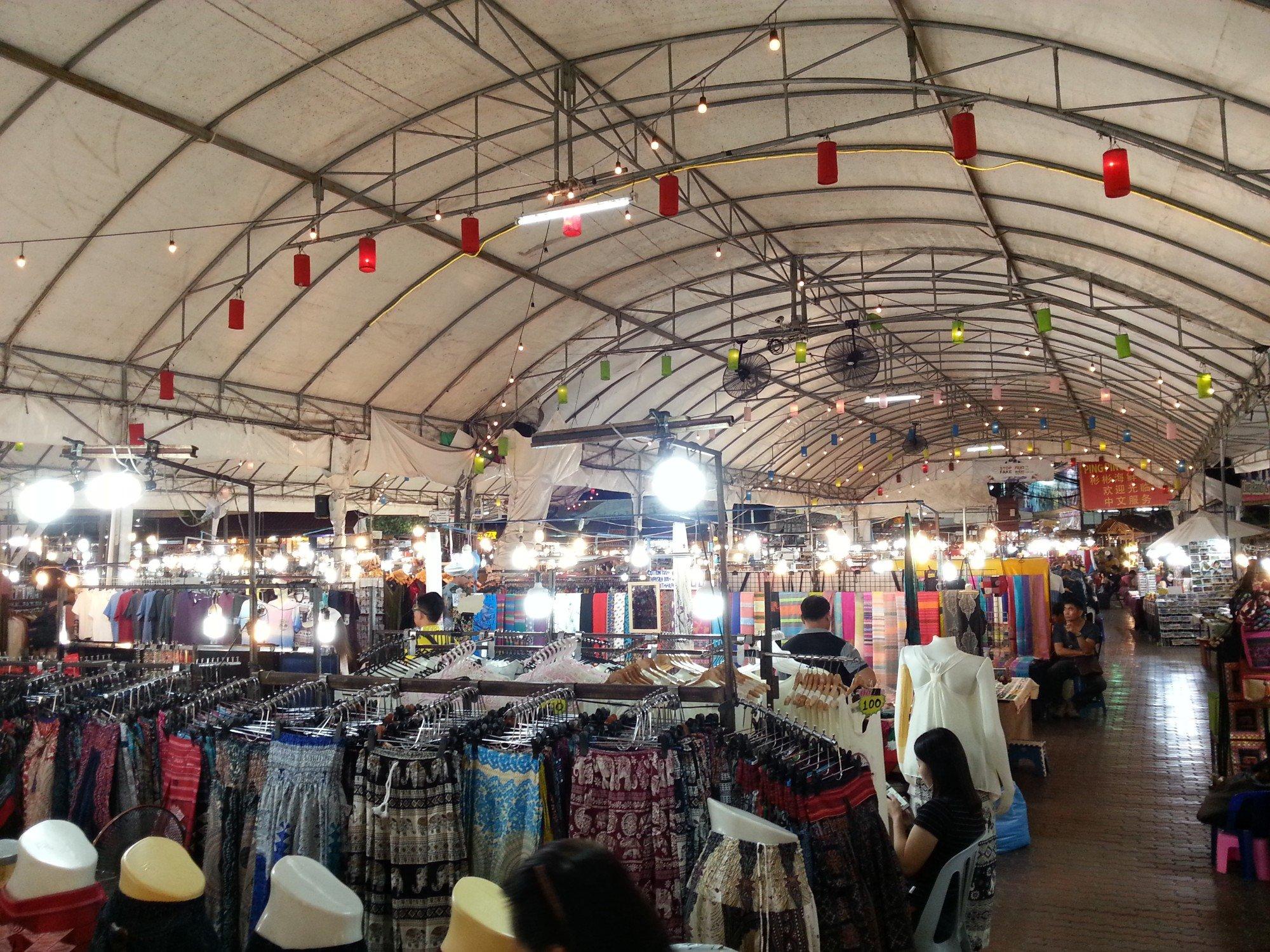 Clothes stalls at Anusarn Market