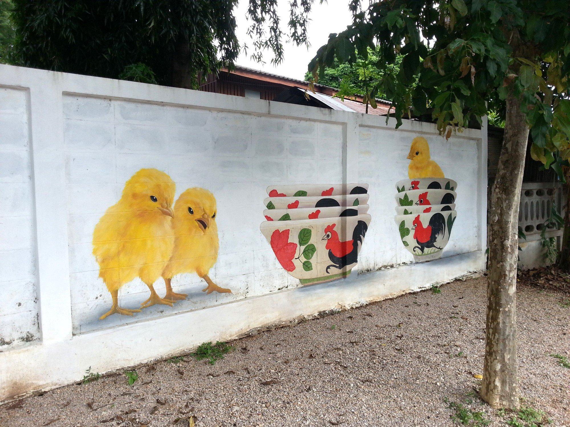 Chicks in bowls mural in Lampang