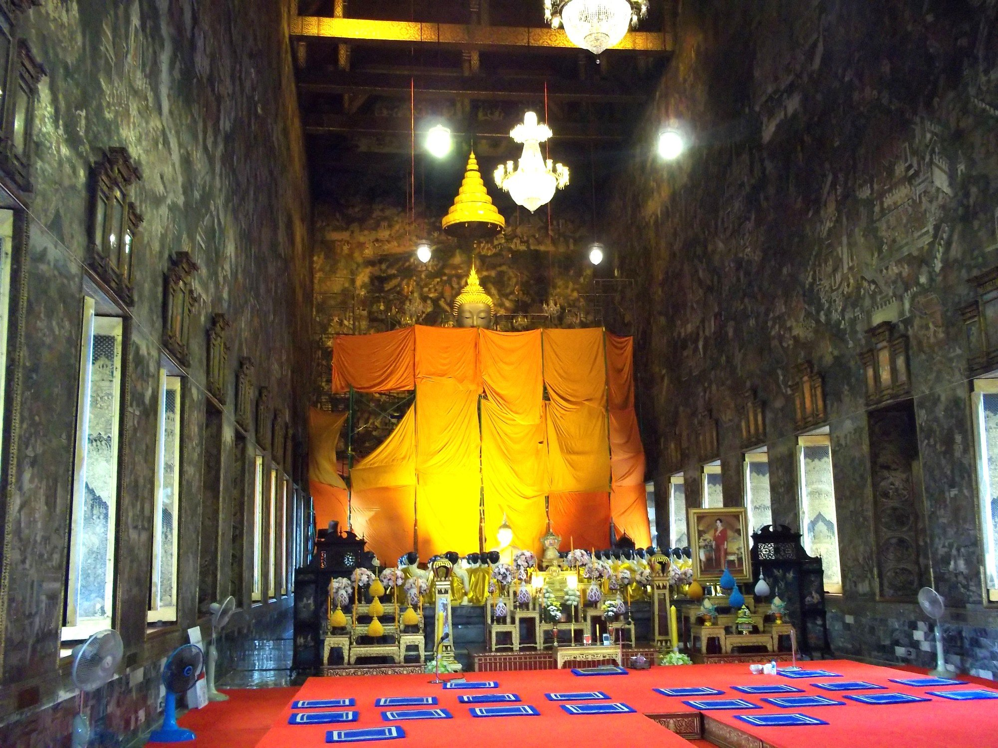 Inside the Ordination Hall at Wat Suthat Thepwararam