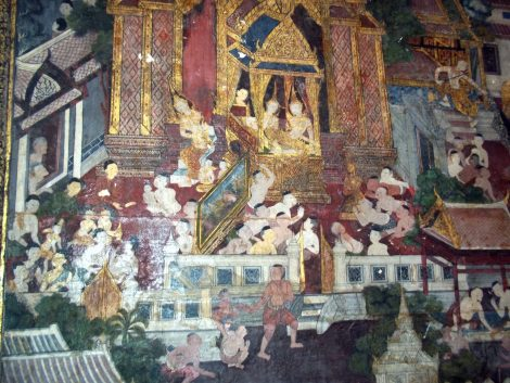 Wall murals in the Ordination Hall at Wat Suthat Thepwararam