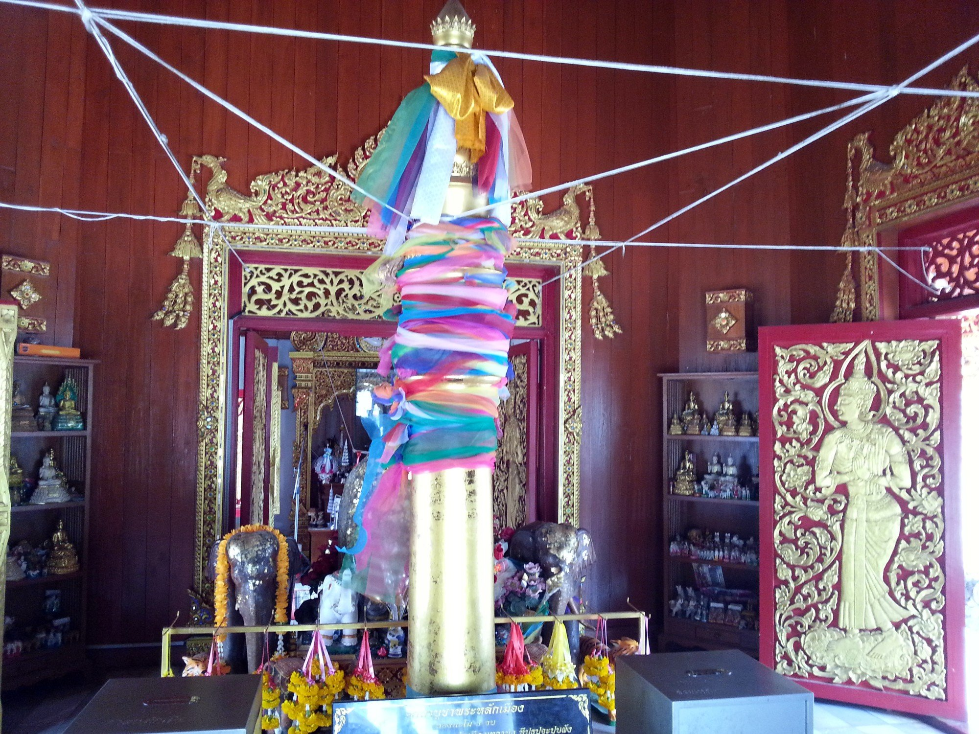 Acacia wood pillar at Phrae City Pillar Shrine