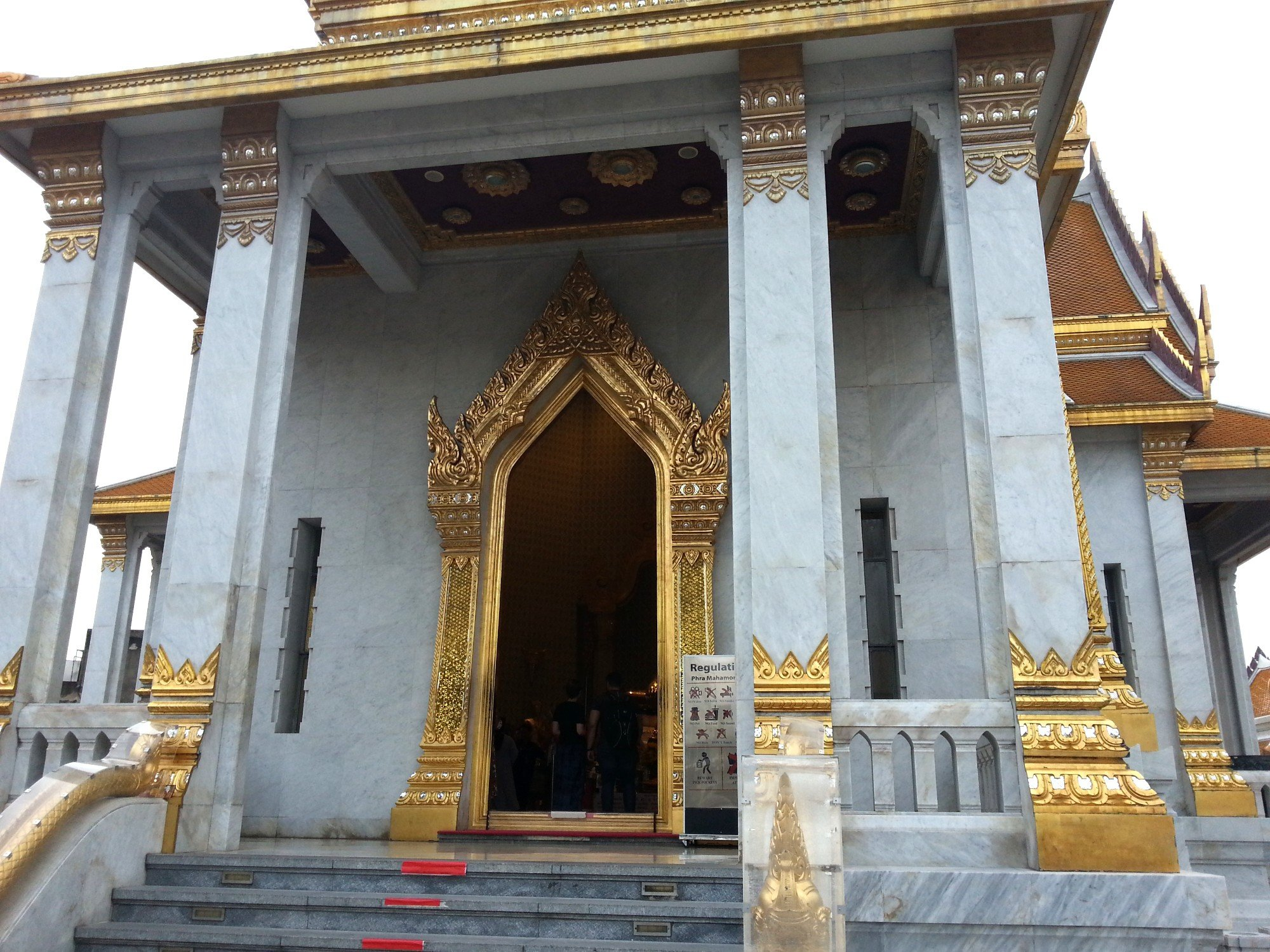 Entrance to the top level of the Mondop at Wat Traimit