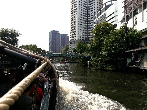 Travelling on the Khlong Saen Saep canal boat service in Bangkok