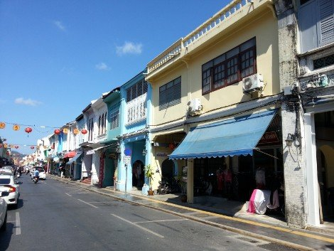 The colourful Thalang Road in Phuket Town