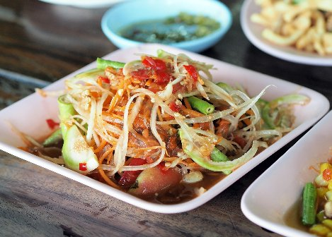 Som Tam is a papaya salad dish from South East Asia